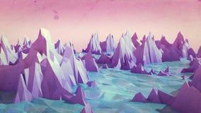 Niski poli- góra krajobraz z wodą Fotografia Stock