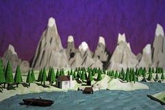 Niski poli- krajobraz Obrazy Stock