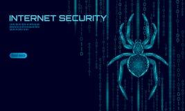 Niski poli- pająka hackera ataka niebezpieczeństwo Sieci ochrony wirusowych dane antivirus zbawczy pojęcie Poligonalny nowożytneg royalty ilustracja