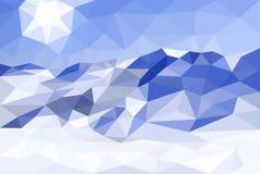 Niski poli-, poligonalny krajobrazowy zimy tło, wektor Obrazy Royalty Free
