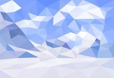 Niski poli-, poligonalny krajobrazowy zimy tło, wektor Zdjęcia Stock