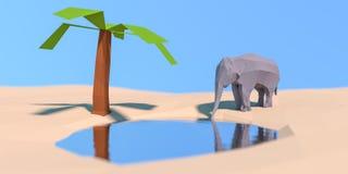 Niski Poli- słoń przy podlewanie dziurą Zdjęcie Royalty Free