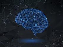 Niski poli- wireframe mózg na ciemnej przestrzeni BG Zdjęcie Royalty Free