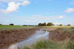 Niski przypływ na Rzecznym Nene przy faul kotwicą, Cambridgeshire obrazy royalty free