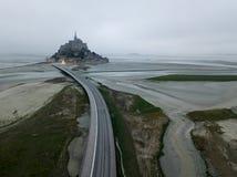 Niski przypływ przy świętego Michel opactwem, Francja Obraz Royalty Free