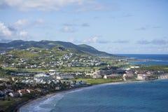 Niski widok z lotu ptaka kurorty i plaże w St Kitts obrazy stock