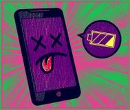 Niskie bateryjne smartphone potrzeby ładują, trwałości baterii trwania problem ilustracja wektor