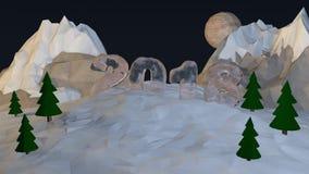 Niskie wielobok góry z lodowatą inskrypcją 2018 świadczenia 3 d Ilustracja Wektor