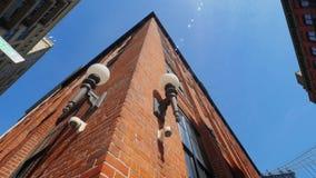 Niskiego kąta Krańcowy Szeroki Panning Strzelający Brooklyn budynki zbiory