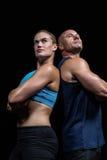 Niskiego kąta widok mięśniowy mężczyzna i kobieta Obraz Stock