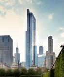 Niskiego k?ta widok drapacze chmur w mie?cie, Chicago, Kucbarski okr?g administracyjny, I Zdjęcie Stock