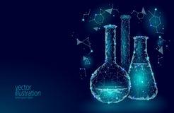 Niskiej poli- nauki chemiczne szklane kolby Magicznego wyposażenie poligonalnego trójboka błękitna rozjarzona badawcza przyszłośc royalty ilustracja