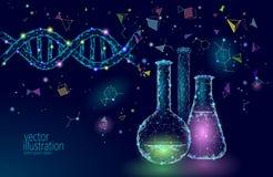 Niskiej poli- nauki chemiczne szklane kolby Magicznego wyposażenie poligonalnego trójboka błękitna rozjarzona badawcza przyszłośc ilustracji