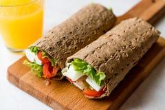 Niskokalorycznej diety opakunek z serem, pomidorami, sałatką i sokiem pomarańczowym, obraz stock