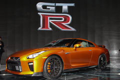 A Nissan GT-R unveiled  at the New York International Auto  Show. NEW YORK - March 23: A FNissan GT-R unveiled at the 2016 New York International Auto Show Stock Images
