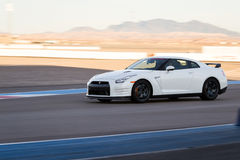 Nissan GTR. Las Vegas Nevada - December 09 : Nissan GTR going around the track at the Las Vegas Motor Speedway , December 09 2014 in Las Vegas, Nevada stock photos