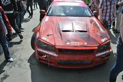 Nissan-horizon r34 kampioenschapsrassen, Sportscar-het stemmen Concurrentie op gestemde auto's in afwijking rds Royalty-vrije Stock Afbeeldingen