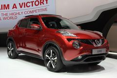 2014 Nissan Juke on the Geneva Auto Salon. Nissan Juke used innovation to create a whole new market segment Royalty Free Stock Image