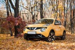 Nissan Juke w jesień parku Fotografia Royalty Free