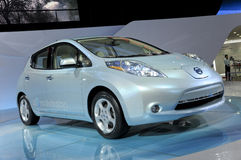 Nissan LEAF. Nissan pure electric Zero Emission car in its exhibition hall,in 2010 international Auto-show GuangZhou. it is from 20/12/2010 to 27/12/2010. photo Royalty Free Stock Photos