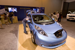 Nissan Leaf. HOUSTON - JANUARY 2012: The Nissan Leaf Electric car at the Houston International Auto Show on January 28, 2012 in Houston, Texas Stock Images
