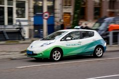 Nissan Leaf electical taxi Royalty Free Stock Image