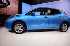 Nissan Leaf At NY International Auto Show. All electric Nissan Leaf on display at the NY International Auto Show April 23 - May 1, 2011 Stock Photo