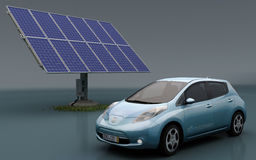 Nissan Leaf with Solar Set Stock Images