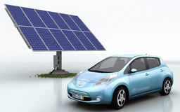 Nissan Leaf with Solar Set. Nissan Leaf with automatic solar system Stock Photo