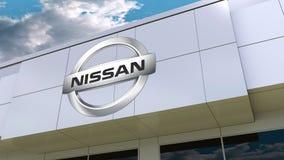 Nissan logo on the modern building facade. Editorial 3D rendering. Nissan logo on the modern building facade. Editorial 3D Stock Photo