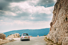 Nissan Micra car on background of French mountain nature landsca Stock Photo