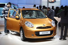 A Nissan Micra on display at Auto Expo 2012 Stock Images