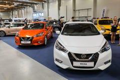 Nissan Micra visade på den 3rd upplagan av MOTO-SHOWEN i Cracow Polen Royaltyfria Bilder