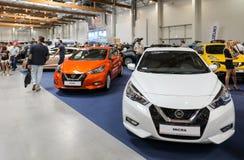 Nissan Micra visade på den 3rd upplagan av MOTO-SHOWEN i Cracow Polen Arkivfoton