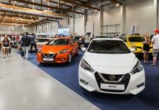 Nissan Micra wystawiał przy 3rd wydaniem MOTO przedstawienie w Krakowskim Polska obrazy royalty free
