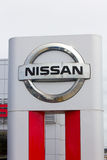 Nissan Motors automobile dealership and sign. Royalty Free Stock Photo