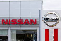 Nissan Motors automobile dealership and sign. Stock Image