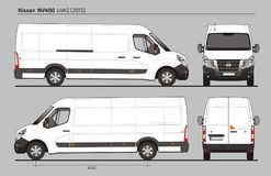 Nissan NV400 Cargo Delivery Van L4H2 2015. Nissan NV400 Cargo Delivery Commercial Van L4H2 2015 detailed template AI Format for design and production of vehicle Royalty Free Stock Photography