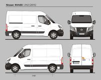Nissan NV400 Cargo Delivery Van L1H2 2015. Nissan NV400 Cargo Delivery Commercial Van L1H2 2015 detailed template AI Format for design and production of vehicle Stock Images
