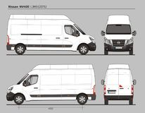 Nissan NV400 Cargo Delivery Van L3H3 2015. Nissan NV400 Cargo Delivery Commercial Van L3H3 2015 detailed template AI Format for design and production of vehicle Stock Photos