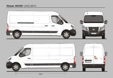Nissan NV400 Cargo Delivery Van L3H2 2015. Nissan NV400 Cargo Delivery Commercial Van L3H2 2015 detailed template AI Format for design and production of vehicle Stock Images