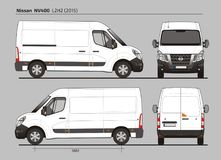 Nissan NV400 Cargo Delivery Van L2H2 2015. Nissan NV400 Cargo Delivery Commercial Van L2H2 2015 detailed template AI Format for design and production of vehicle Royalty Free Stock Photo