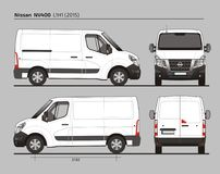 Nissan NV400 Cargo Delivery Van L1H1 2015. Nissan NV400 Cargo Delivery Commercial Van L1H1 2015 detailed template AI Format for design and production of vehicle Royalty Free Stock Images