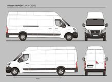 Nissan NV400 Cargo Delivery Van L4H3 2015. Nissan NV400 Cargo Delivery Commercial Van L4H3 2015 detailed template AI Format for design and production of vehicle Royalty Free Stock Image