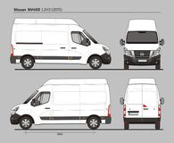 Nissan NV400 Cargo Delivery Van L2H3 2015. Nissan NV400 Cargo Delivery Commercial Van L2H3 2015 detailed template AI Format for design and production of vehicle Royalty Free Stock Images