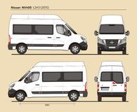 Nissan NV400 Passenger Van L2H3 2015. Detailed template AI Format for design and production of vehicle wraps scale 1:10 Royalty Free Stock Images