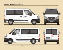 Nissan NV400 Passenger Van L1H1 2015. Detailed template AI Format for design and production of vehicle wraps scale 1:10 Royalty Free Stock Images