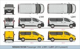 Nissan NV300 Passenger Van L1H1 and L2H1 2014-present vector illustration
