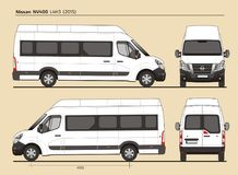 Nissan NV400 Passenger Van L4H3 2015. Detailed template AI Format for design and production of vehicle wraps scale 1:10 Royalty Free Stock Image