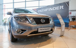 Nissan Pathfinder in the showroom of official dealer. SAMARA, RUSSIA - NOVEMBER 16, 2014: Nissan Pathfinder in the showroom of official dealer. Nissan is a Royalty Free Stock Photos